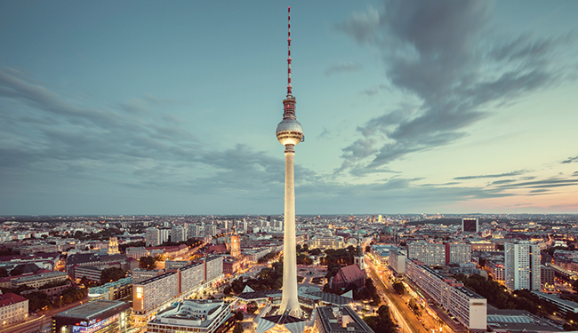 Berlin skyline panorama with famous TV tower at Alexanderplatz a