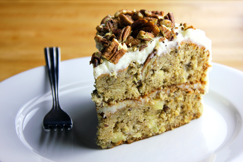 Pecan caramel nut cake with cream 'cheese' frosting