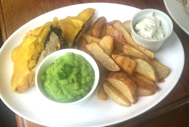 A vegan fish and chip dish at vegan pub The Peacock in Nottingham