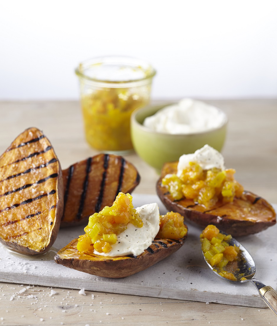 The sun's out, so that can only mean one thing - it's BBQ time! And BBQ food doesn't get much tastier than this tangy BBQ'd sweet potato with spicy chutney thats an absolute cinch to make!