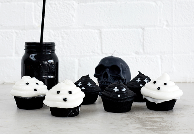 Vegan charcoal ghost cupcakes
