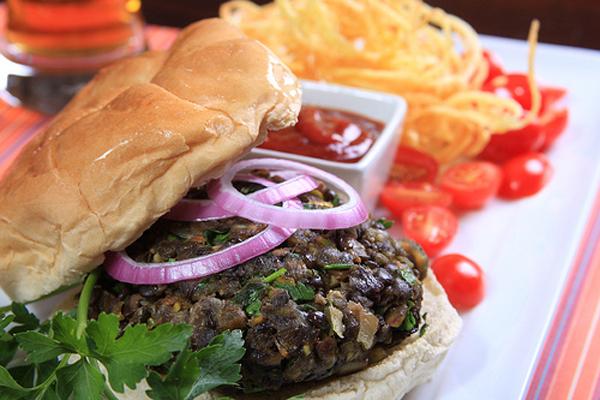 black lentil vegan burger