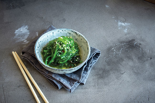 Seaweed (such as kelp, nori, wakame, and kombu) is one of the best plant-based food sources of iodine.