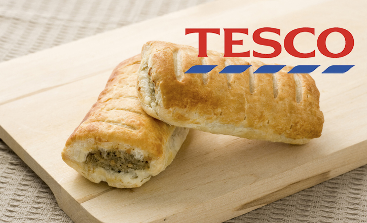 Tesco has launched a vegan sausage roll to compete with Greggs