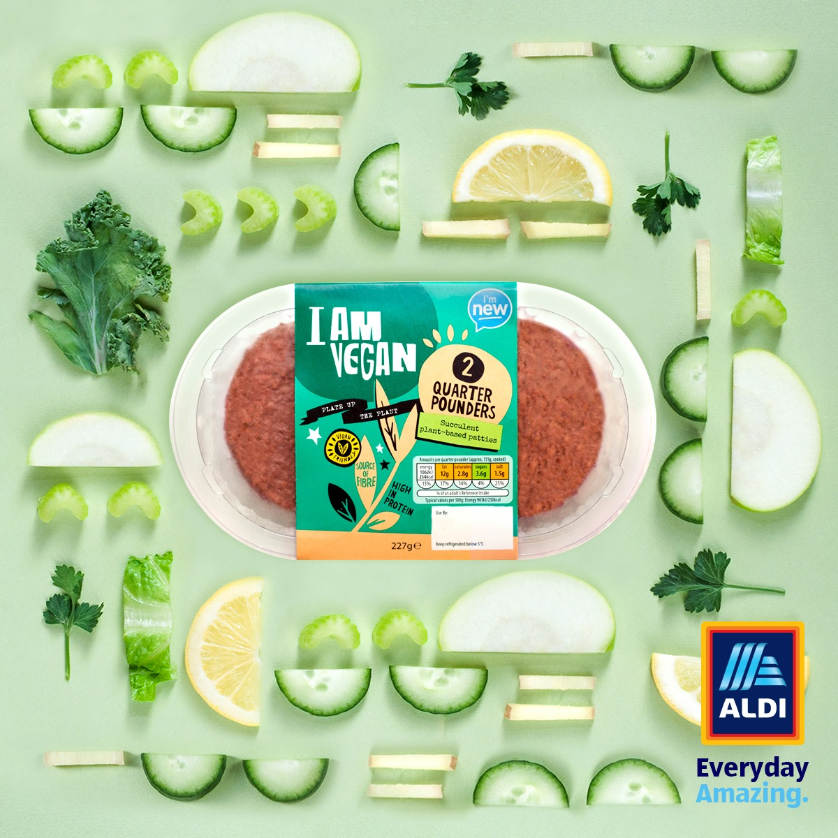 Aldi UK launches high-protein vegan quarter pounder burgers