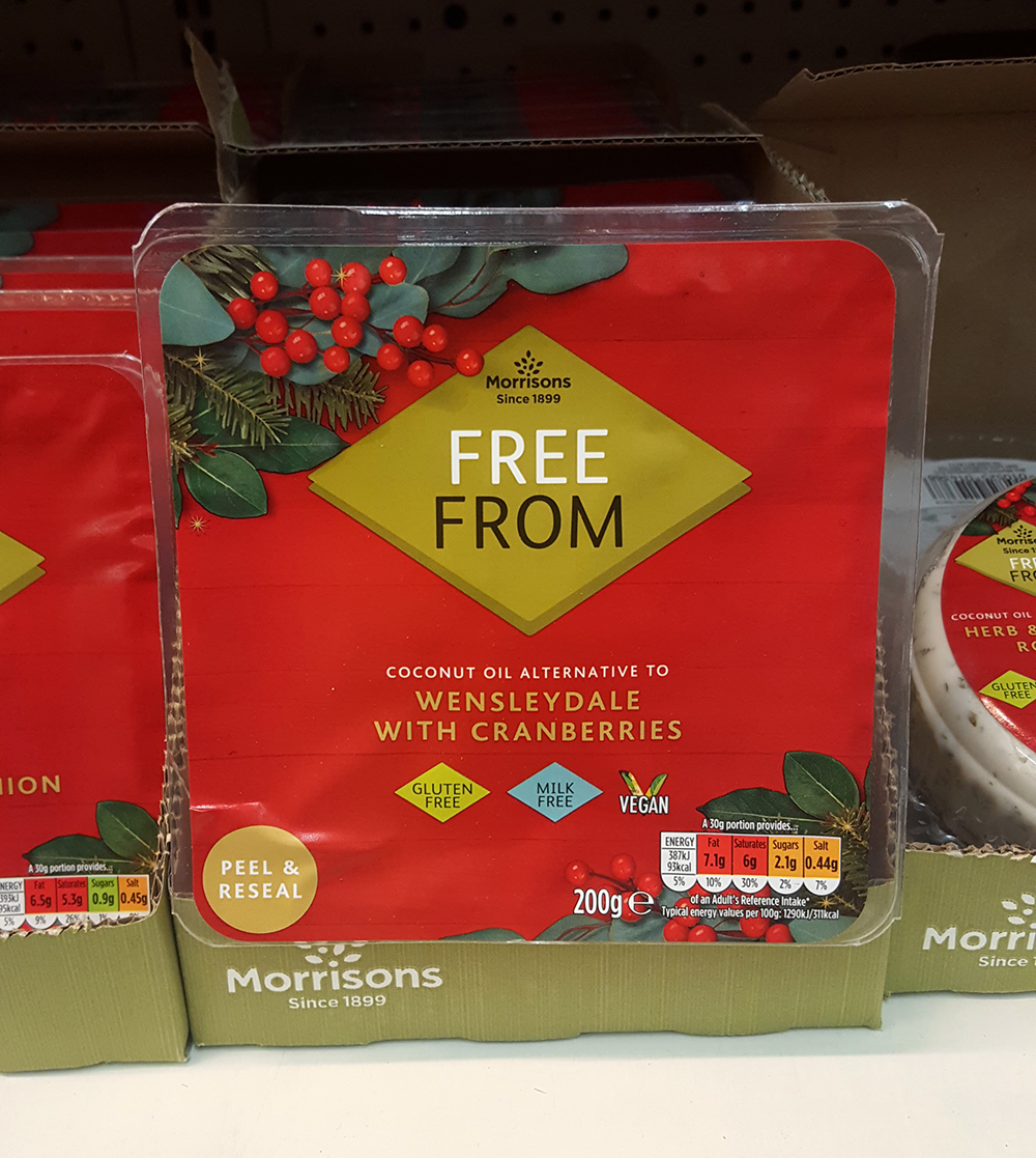Morrisons - Free From. Coconut oil alternative to Wensleydale with Cranberries