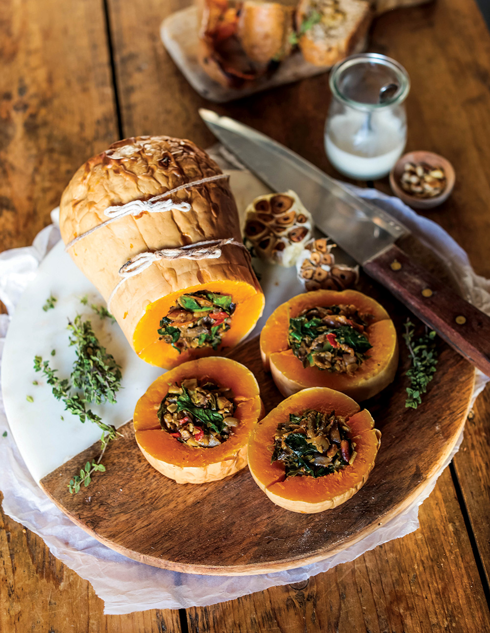 Vegan Baked Squash with Nutty Mushroom Stuffing