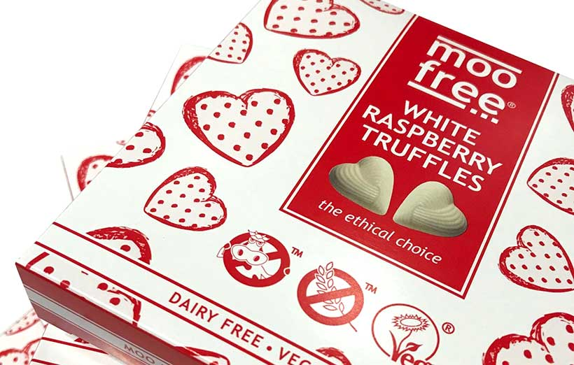 Moo Free to launch vegan white chocolate truffles with a raspberry centre