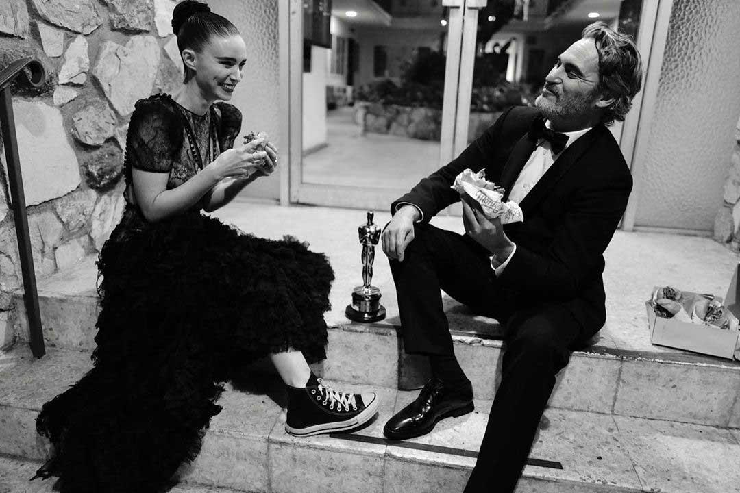 Joaquin Phoenix celebrates Oscars win by tucking into a vegan burger