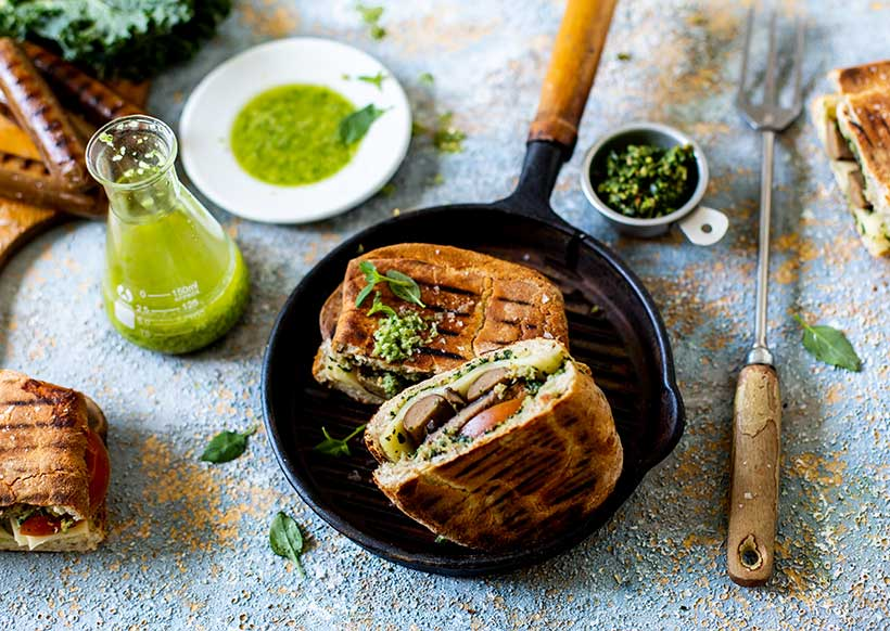 Chargrilled Vegan Sausage Paninis with Kale Pesto and Chilli Oil