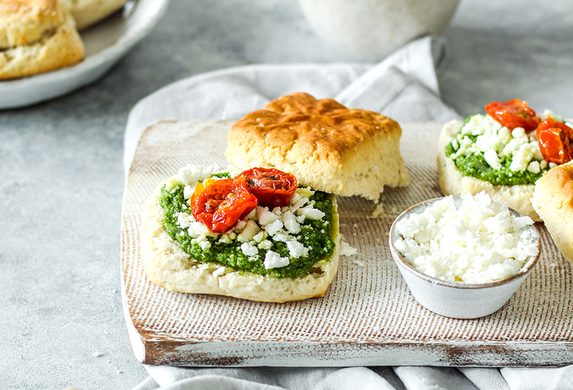 Garden Herby Pesto Scones with Feta & Sundried Tomatoes