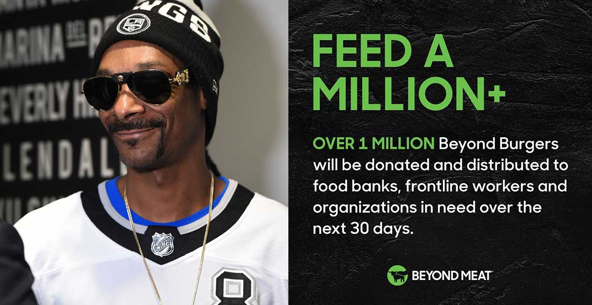 Snoop Dogg and Beyond Meat team up to donate 1 million vegan burgers to hospitals