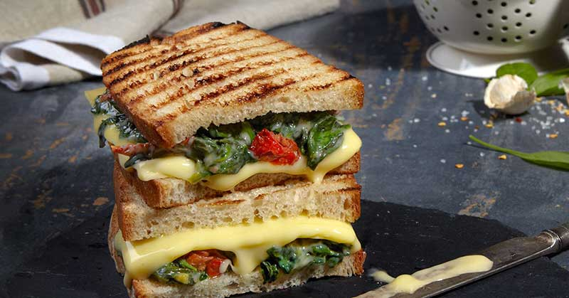 Spinach and Sun-Dried Tomato Toastie