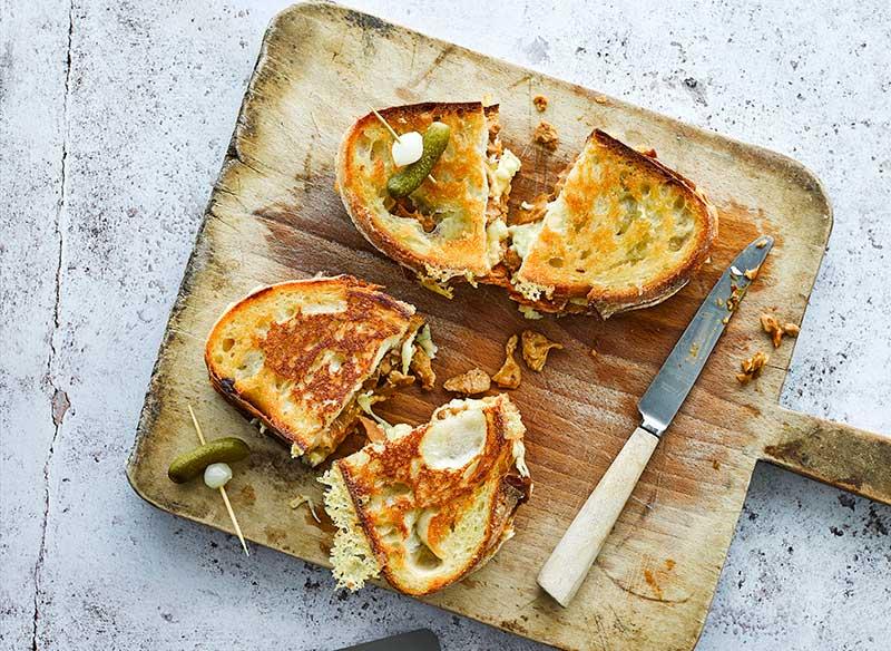 Vegan Tuna & Kimchi Grilled Cheese Sandwich