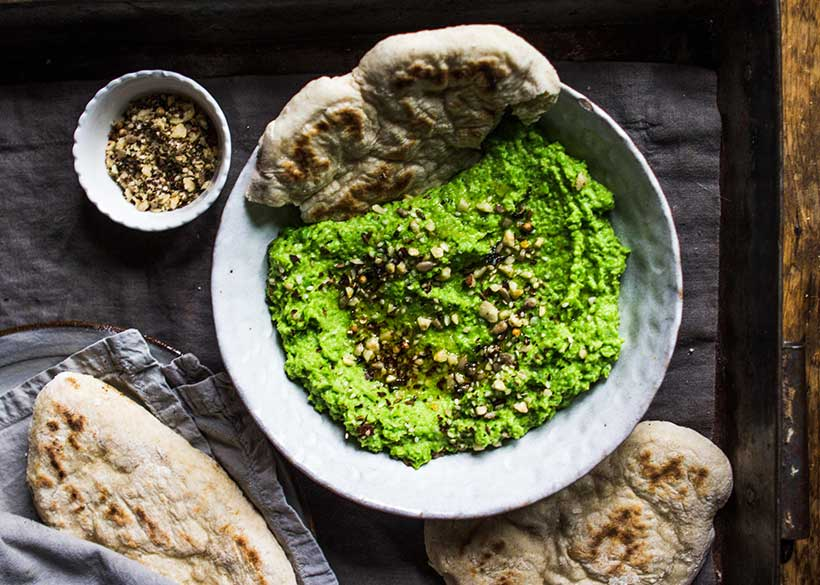 Easy Flatbreads With Pea & Mint Dip