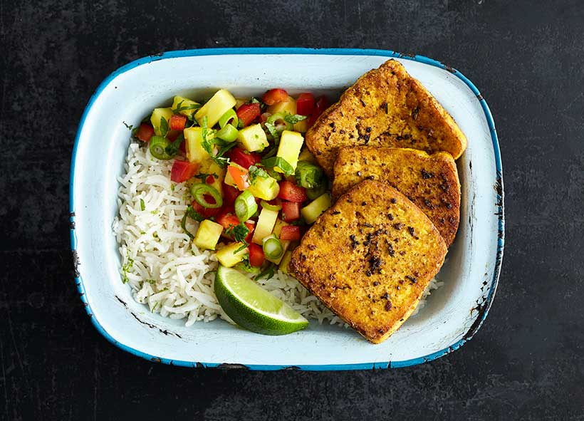 Jerk Smoked Tofu with Pineapple Salsa and Coconut Rice