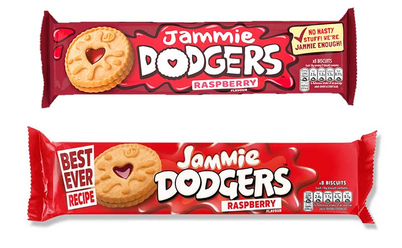 The new vegan-friendly Jammie Dodger biscuits will be packaged in new darker packaging (shown above the old packaging) to make them easy to spot.