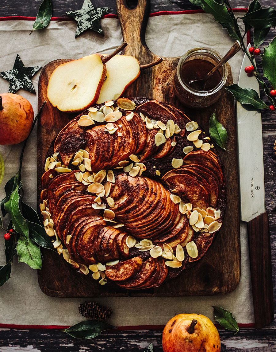Chestnut, Chocolate Almond Cake With Spiced Pears