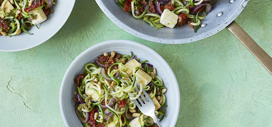 Courgetti with Pesto & Sundried Tomatoes