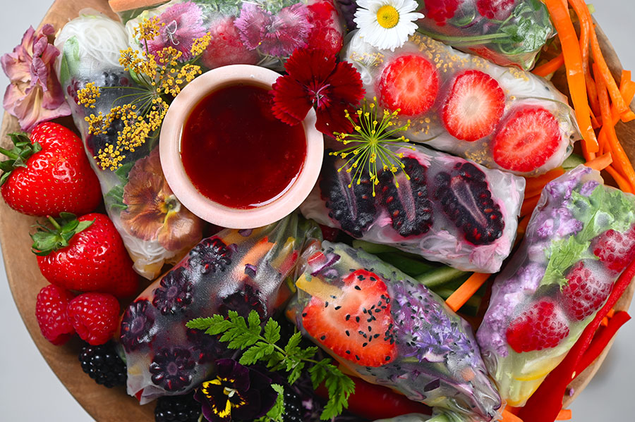 Summer Rice Paper Rolls with Berries