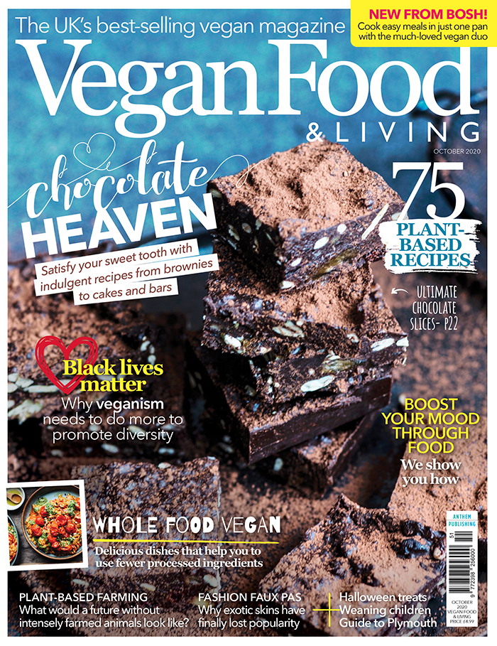 Indulge your sweet tooth with comforting chocolate recipes in the October issue of Vegan Food & Living