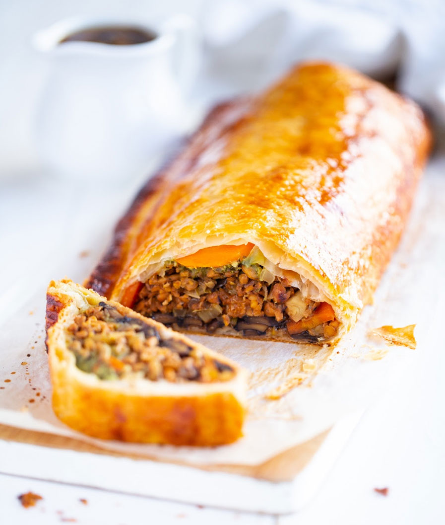 Vegetable & Tempeh Wellington with Shiitake Gravy
