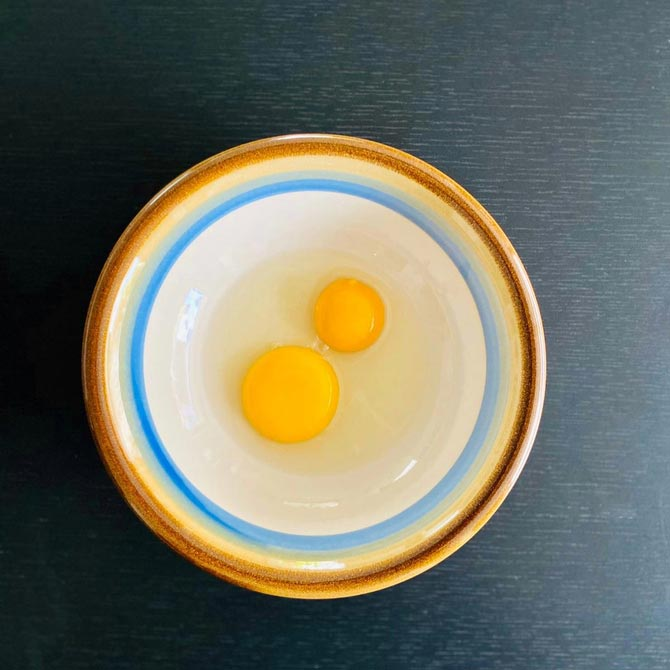 OnlyEg (top) in comparison to a chicken egg (bottom). Photo by OnlyEg