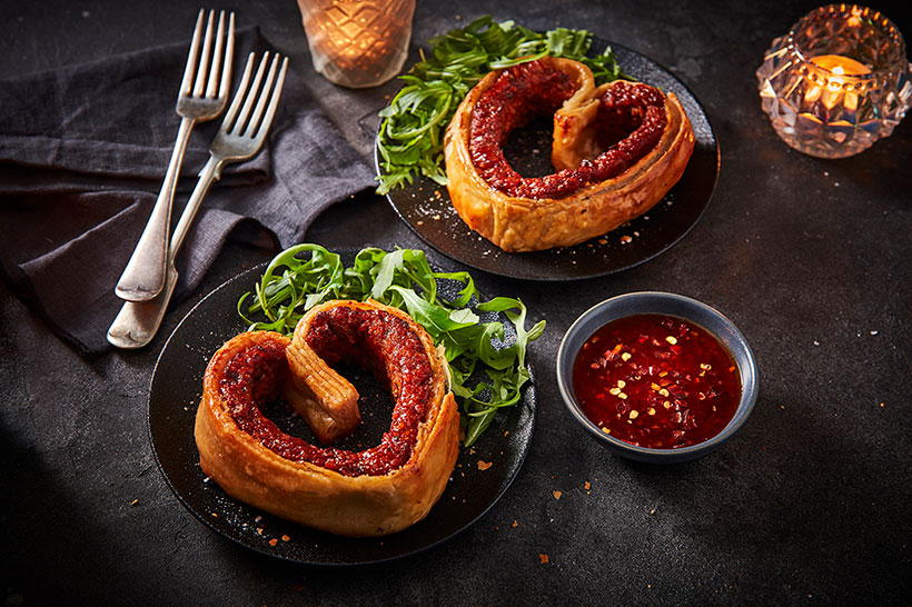 Morrisons' new heart-shaped Vegan Chorizo Palmier (£3.00) feature flaky plant-based pastry and a spicy meat-free chorizo-style filling