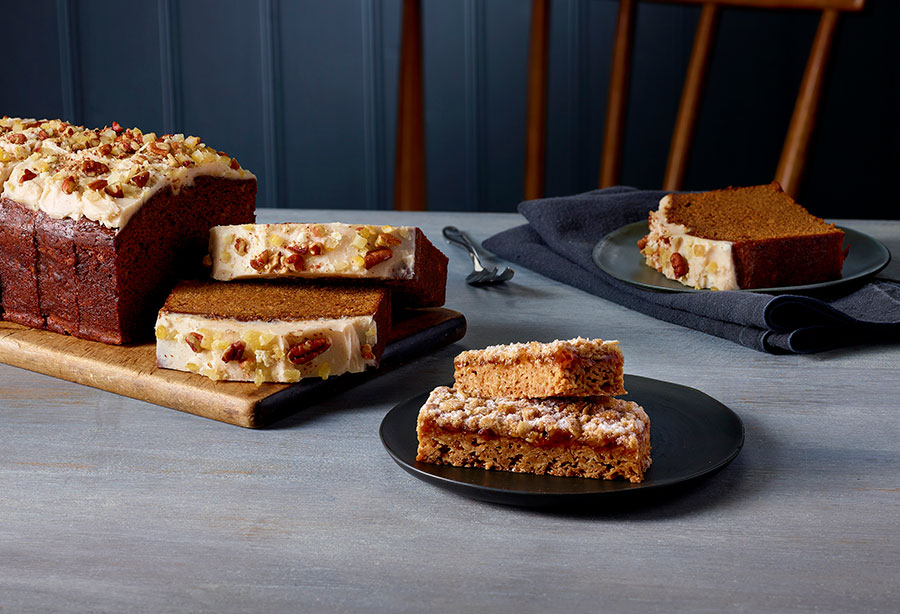 Costa's new Vegan Jamaican Ginger Loaf Cake is a sticky ginger cake with cinnamon frosting topped with ginger and orange decoration.