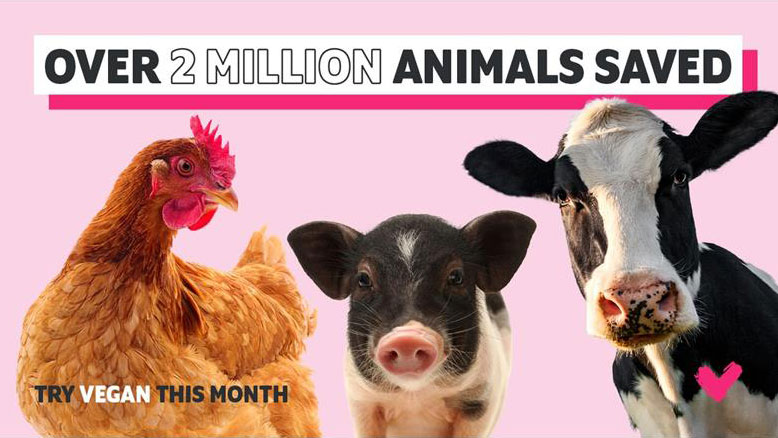 Veganuary 2021 inspired up to 1.5 million Brits to go vegan and saved over 2 million animals