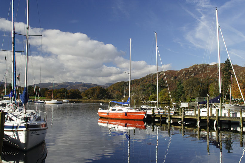 Boats at Waterhead on the western side of Lake Windemere