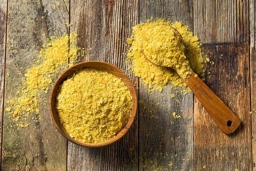 Vegan favourite nutritional yeast adds a cheesy flavour to dishes and is also a good source of B12.