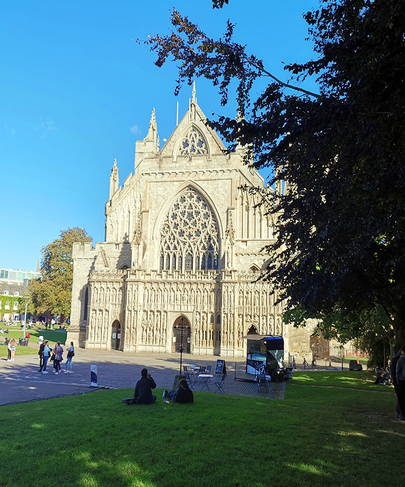 Exeter Cathedral dates back to the 12th Century and and has England's longest vaulted ceiling.