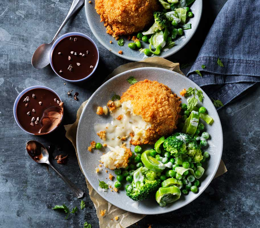 Plant Kitchen's Melt In The Middle Fishcakes with New Green Veg Medley and Chocolate Pots