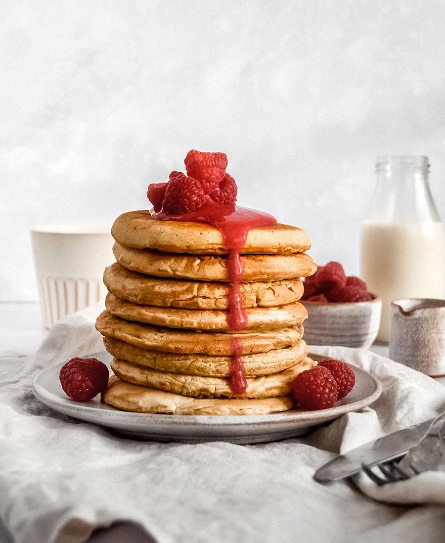 Oat Milk Pancakes with Raspberry Sauce