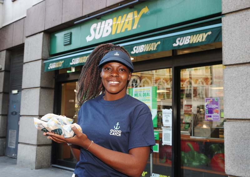Good Catch handed out free fish-free tuna subs outside London Subway stores last Thursday