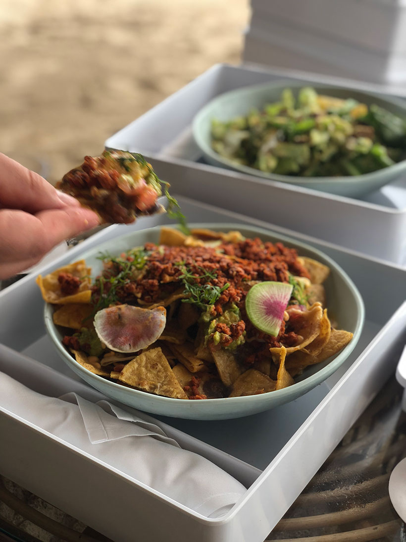 Palmaia's vegan menu is filled with tasty vegan dishes such as vegan nachos and French toast.
