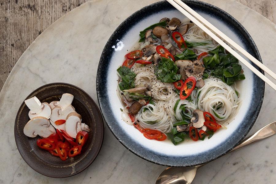 Medicinal Mushroom and Garlic Broth