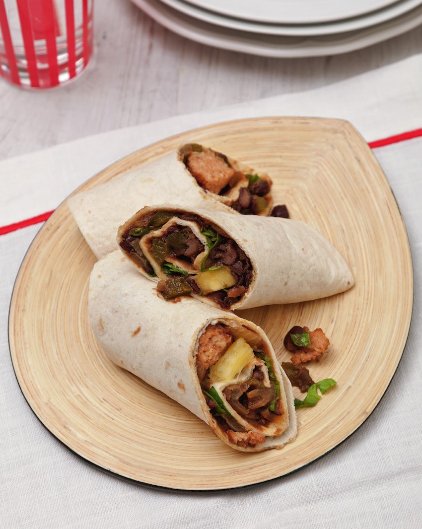Easy Vegan Breakfast Burrito with Beans & Sausages