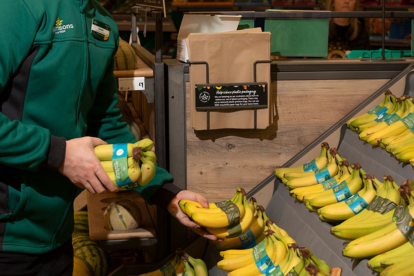 Morrisons swapped plastic bags for old-style paper grocery bags for its fresh produce in 2018.